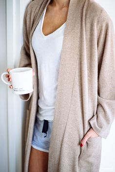 Cozy sweaters + coffee. This is our ideal morning.