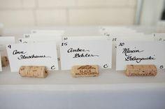 wine cork wedding place card