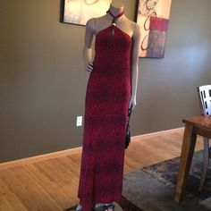 MK Red Snakeskin Halter Maxi Dress Like New 100% Polyester, worn once- excellent condition, head turning maxi dress.  Size M Michael Kors Dresses Maxi