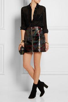 Emilio Pucci | Patchwork python and metallic leather mini skirt | NET-A-PORTER.COM