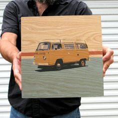 Yellow Surfer Van 12x12  by Sean Finocchio