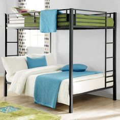 Complete your kid's room with Full-Over-Full metal Bunk Bed. With square posts and simple design, this bunk bed will complement any room decor. The bunk bed includes metal slats for support and durability, and can be used without a box spring or bunk board. It also includes full length guard rails for upper bunk and a sturdy integrated ladder for safety. Functional and space-saving, this is perfect for kids sharing a room or for sleepovers.