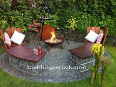 Our new barbecue area was a challenge this year. - Our new barbecue area was a challenge this year. Round gabion benches should be there, with removab - Garden Yard Ideas, Garden Tools, Bbq Area Garden, Diy Garden, Barbecue Area, Diy Bbq Area, Outdoor Living, Outdoor Decor, Outdoor Benches