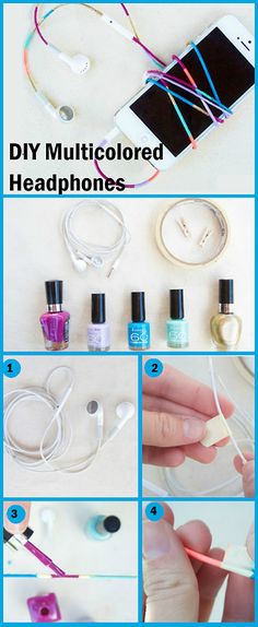 DIY Multicolored Headphones.. Try this at home!! #creativehedphones