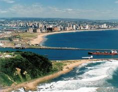 Durban, South Africa. Bluff, harbor entrance and beach area.