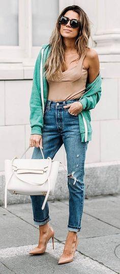 cute ootd bomber jacket + top + bag + rips