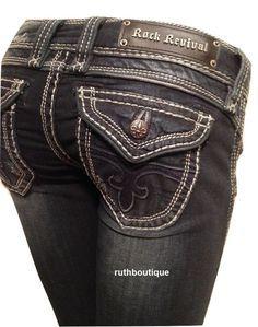 Rock Revival Size 26 Elizabeth RJ8176W6 Wide Leg Dark Wash Jeans NWT Ret $159.00 #RockRevival #WideLeg