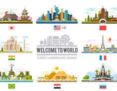 """Check out this @Behance project: """"Welcome to world, flat landscape set"""" https://www.behance.net/gallery/20681179/Welcome-to-world-flat-landscape-set"""
