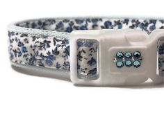 Dog Collar  Blue Country Floral with Swarovski Crystals by FuzzyPawCreations on Etsy, $13.96