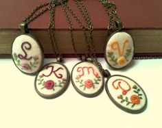 5 Initial  necklaces hand embroidery personalized, monogrammed gift for her, bridesmaid gift, flower girl gift.