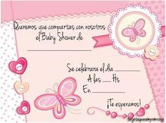 Tarjetas de mariposa para imprimir para baby shower de niña | Manualidades para Baby Shower