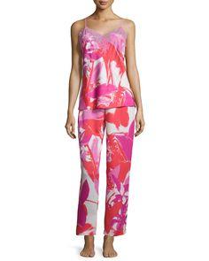 abe923da26 Lucent Palms-Print Lace-Trimmed Pajama Set