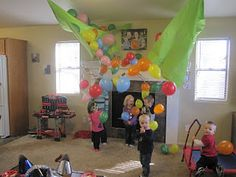 balloon drop!,I did this last year, sewed two table cloths, and left the string long enough to pull, I used two table cloths from Walmart/Target, the kids loved it, so much fun, stuff the balloon, just pull the balloon and put your goodies in, and then blow them up :)
