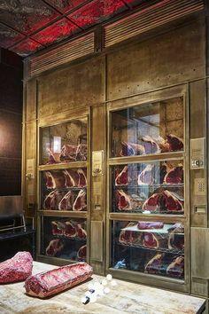 Butcher Restaurant, Restaurant Kitchen Design, Meat Restaurant, Restaurant Concept, Restaurant Interior Design, Cafe Design, Küchen Design, Steak Shop, Carnicerias Ideas