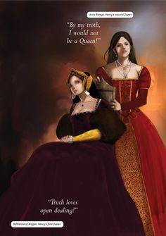 Catherine of Aragon and Anne Boleyn in the Henry VIII's Shakespeare manga.