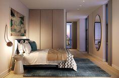 CGI of one bedroom apartment bedroom