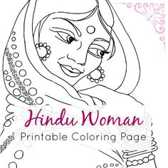 Indian Coloring Page | Hindu Woman Portrait Line Art | Printable PDF & JPEG by IvyLilyArt | Downloadable and printable adult coloring book page of a Hindu woman. Click through to the Etsy listing! #female #portrait #ethnic #exotic #fashion #jewellery #colouring