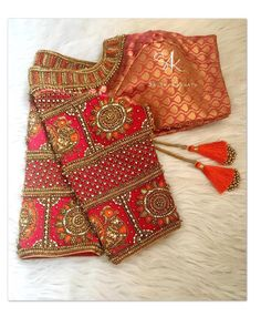 Beautiful brocade designer blouse with hand embroidery kundan and bead work on sleeves. Blouse Back Neck Designs, Brocade Blouse Designs, Hand Work Blouse Design, Wedding Saree Blouse Designs, Stylish Blouse Design, Fancy Blouse Designs, Designer Blouse Patterns, Aari Work Blouse, Wedding Sarees