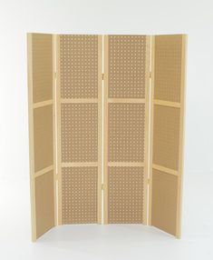 58 Tall or 68 Tall Pegboard Four Panel Display  This unit is great for displaying a lot of merchandise. Unit comes via UPS and in hinged to fold flat. Use as shown or make into a cube. Use standard 1/4 pegboard hooks or accessories with this display fixture. Folds up flat for storage and requires no tools for setup! Each panel is 58 tall x 13-3/4 wide or 68 tall x 13-3/4 (outside dimensions) Panels are hinged to one another with double action hinges.  Inside dimensions of panel...