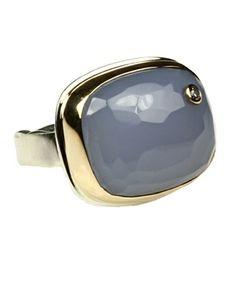 Jamie Joseph 14K Gold Silver Blue Chalcedony #Diamond #Ring #jamiejoseph