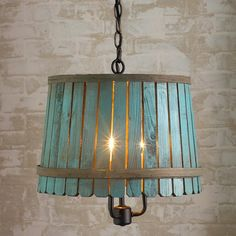 Bushel basket pendant lights in white, blue and green, and small, medium and large. Priced from $169-$189 at ShadesofLight.com. We're thinking a number of you could DIY it for less!