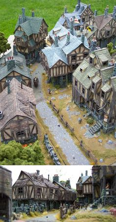 I'm in love with this little miniature medieval village. I've got to build one! I'm in love with this little miniature medieval village. I've got to build one! Vila Medieval, Medieval Houses, Medieval Life, Medieval Fantasy, Medieval Castle, Magic Places, Model Village, Wargaming Terrain, Modelos 3d