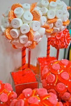 Orange & Fuchsia Pink Marshmallow  Lollipop Candy Land Centerpiece Topiary Tree, Candy Buffet Decor, Wedding, Mitzvah,