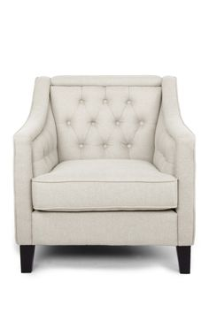 Vienna Classic Retro Modern Contemporary Beige Fabric Upholstered Button-tufted Armchair on @HauteLook