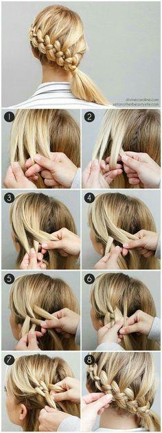 flechtfrisuren selber machen mittellange blonde haare flechten If you liked this pin, click now for more details. New Braided Hairstyles, Diy Hairstyles, Hairstyle Tutorials, Holiday Hairstyles, Hairstyle Ideas, Easy Hairstyle, Hair Ideas, Wedding Hairstyles, Summer Hairstyles