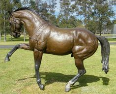 At Arrowfield Stud last Monday, John Messara unveiled a tribute to their wonderful stallion Redoutes Choice... a life sized bronze by highly talented equine sculptress, Tanya Bartlett. Full of life and character, the bronze is situated at ground level rather than on a plinth, making it look even more realistic, as he appears to be frolicking on the lawn.