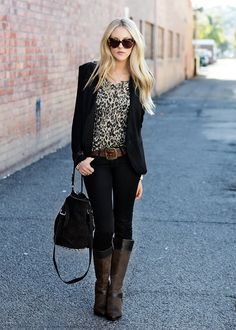 animal print shirt + blazer + glitzy bracelet + skinny jeans + boots...I must get a black blazer that I love.