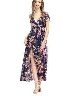527172362ef4 Shop Multicolor Flower Print V Neck Split Chiffon Dress online. SheIn  offers Multicolor Flower Print V Neck Split Chiffon Dress   more to fit  your ...
