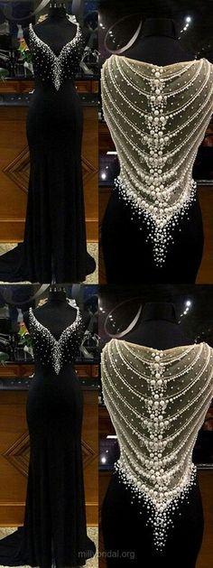 ed5e3a4ad5 Fashion Sheath/Column V-neck Tulle Chiffon Sweep Train Split Front Black  Prom Dresses