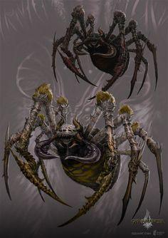 giant spider - gyromancer by kunkka on DeviantArt Spider Drawing, Spider Art, Giant Spider, Monster Concept Art, Fantasy Monster, Monster Art, Mythical Creatures Art, Alien Creatures, Fantasy Creatures