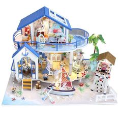 Wooden Doll House Furniture Kits Toys Handmade Craft Miniature Model Toys Gift For Children