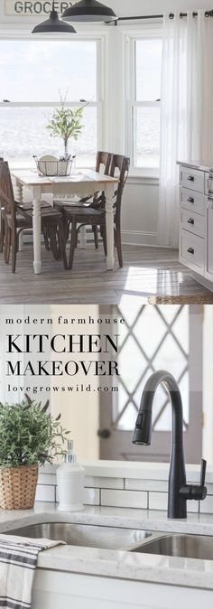 Indiana farmhouse gets a BIG kitchen makeover Country Farmhouse Decor, Farmhouse Style Kitchen, Modern Farmhouse Kitchens, Home Kitchens, Small Kitchens, Rustic Decor, Big Kitchen, Kitchen Redo, Kitchen Design