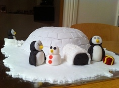 Igloo Cake Chocolate biscuit cake covered with fondant Igloo Cake, Chocolate Biscuit Cake, Cake Cover, Fondant, Cake Decorating, Miniatures, Amy, Christmas, Cakes