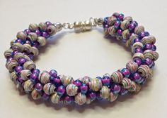 Kumihimo Paper Bead and Glass Purple Bracelet by PaperRoseJewelry, $22.00