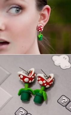 12 Totally Bizarre Earrings – unusual earrings, funny earrings I don't think I'd actually wear them but they are kinda clever anyway! Polymer Clay Charms, Polymer Clay Projects, Polymer Clay Earrings, Clay Crafts, Diy And Crafts, Cute Jewelry, Jewelry Accessories, Biscuit, Ideias Diy