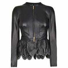 DSQUARED Leather Lasercut Jacket - Flannels