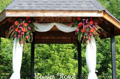 We recently had the pleasure of designing wedding flowers for Tawny's wedding at The Belgium House in Longview, Texas. The gazebo was the. Wedding Altars, Wedding Ceremony, Our Wedding, Wedding Gazebo, Wedding Stuff, Wedding Bells, Garden Wedding, Fall Wedding, Dream Wedding