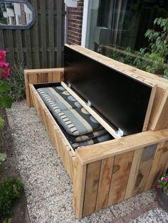 houten tuinbank met opbergmogelijkheid
