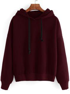 Sweat-shirt manche longue avec capuche - rouge bordeaux -French SheIn(Sheinside)