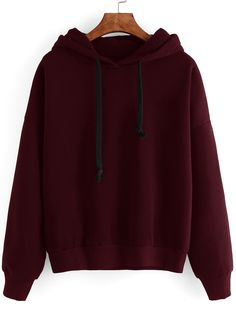 Burgundy Drop Shoulder Hooded Sweatshirt -SheIn(Sheinside) Mobile Site