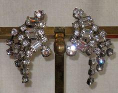 Vintage Clear Rhinestone Spray Earrings  by delightfullyvintage, $21.00