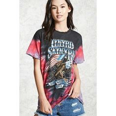 Forever21 Lynyrd Skynrd Tie-Dye Band Tee ($18) ❤ liked on Polyvore featuring tops, t-shirts, forever 21 tops, forever 21 tee, forever 21 and forever 21 t shirts