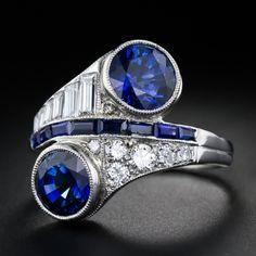 Art Deco Sapphire Diamond Bypass Ring, ca. 1920's.
