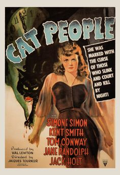 Cat People (RKO, One Sheet X Horror film poster collectors will be pleased to see this - Available at 2015 March 28 - 29 Vintage. Horror Movie Posters, Classic Movie Posters, Classic Horror Movies, Classic Films, Classic Film Noir, Cinema Posters, Halloween Movies, Scary Movies, Old Movies