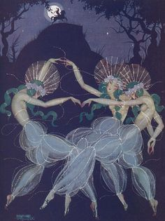 sparkly transparent pants in the night... not sure who artist is. Georges Barbier?