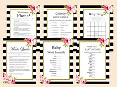 Floral Black and White Baby Shower, Gold Glitter, Shabby Chic Printable Baby Shower Games, Black White Baby Shower Games, Activities
